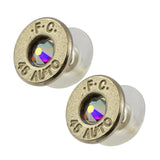 Little Black Gun 45 Auto Bullet Shell Stud Earrings, Thin Nickel and Aurora Boreale Crystal