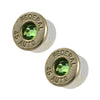 Little Black Gun 45 Auto Bullet Shell Stud Earrings, Thin Nickel and Green Crystal