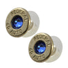 Little Black Gun 45 Auto Bullet Shell Stud Earrings, Thin Nickel and Blue Crystal