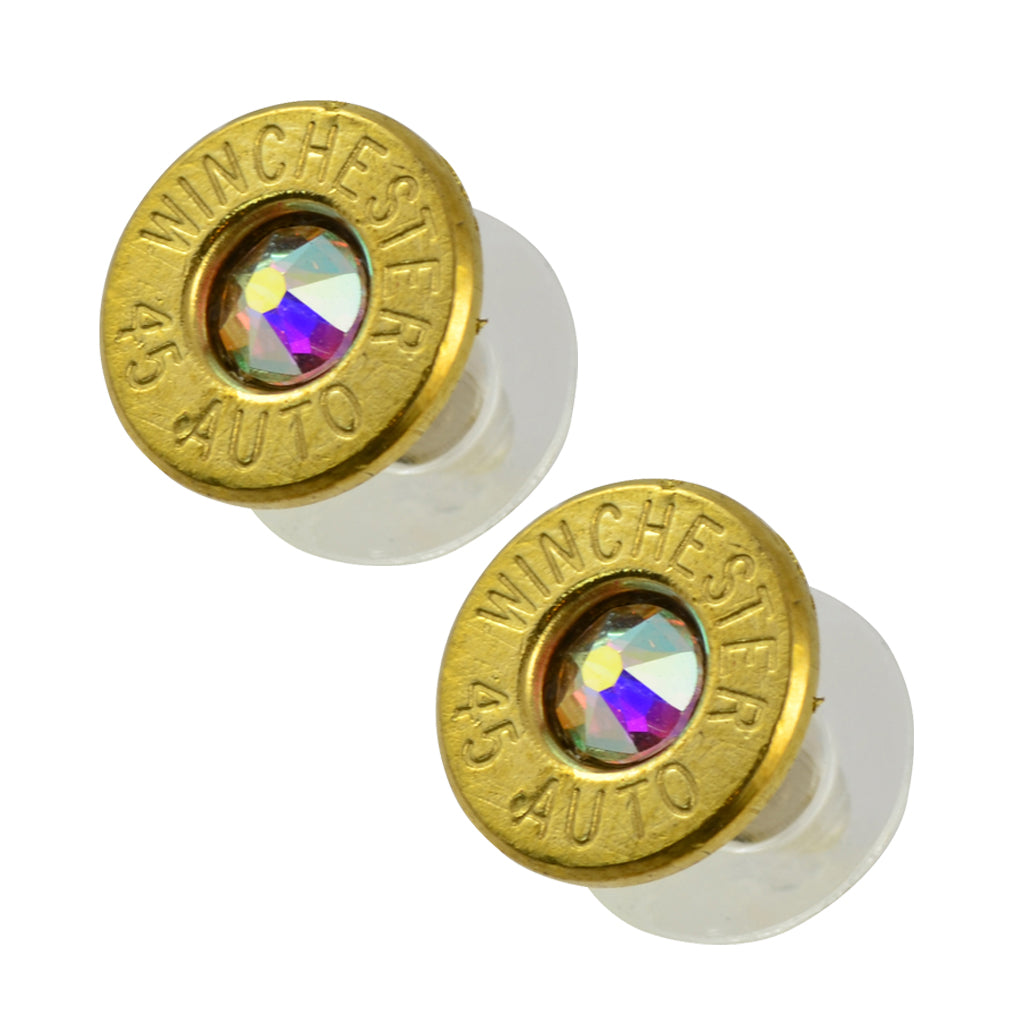 Little Black Gun 45 Auto Bullet Shell Stud Earrings, Thin Brass and Aurora Boreale Crystal