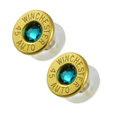 Little Black Gun 45 Auto Bullet Shell Stud Earrings, Thin Brass and Vivid Blue Crystal