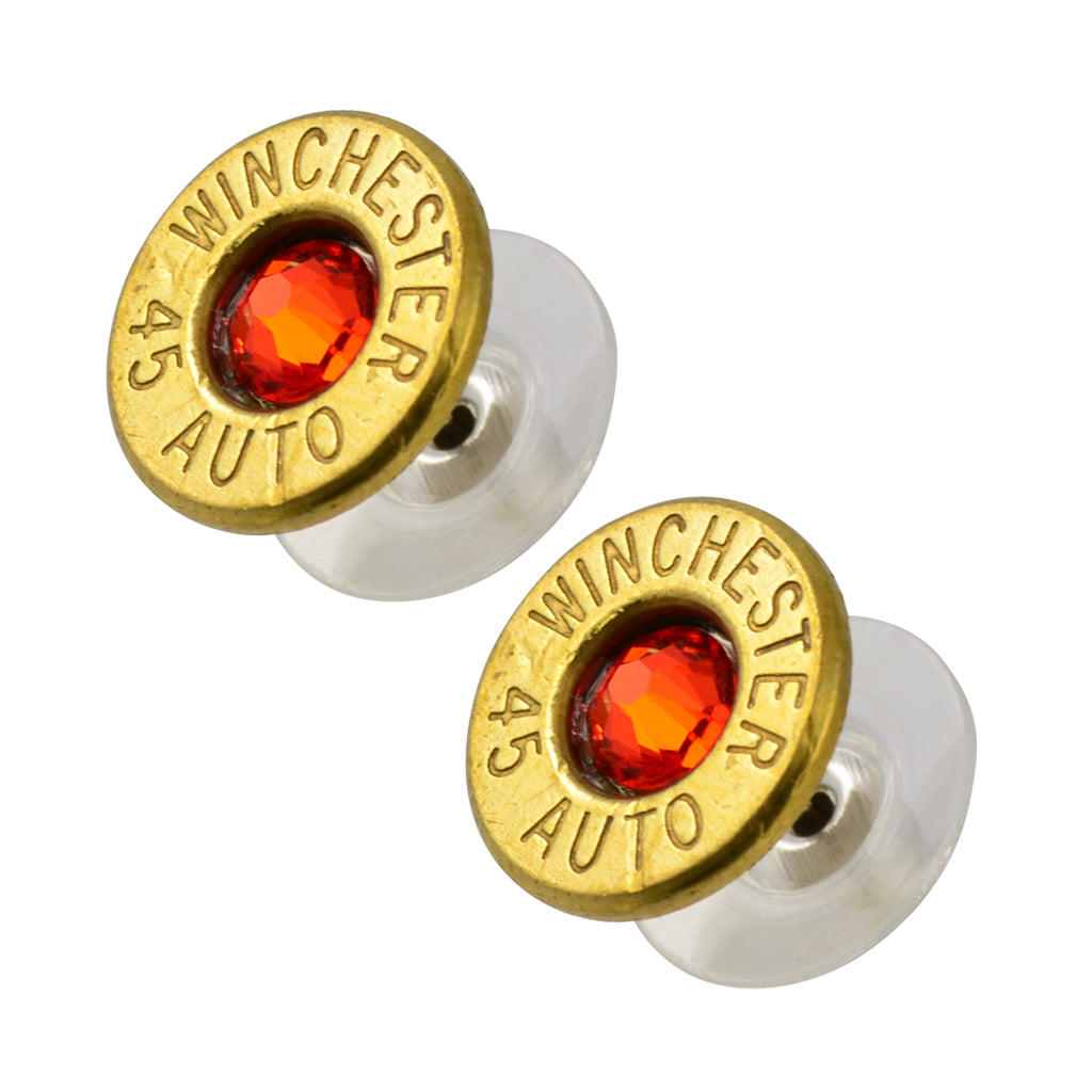 Little Black Gun 45 Auto Bullet Shell Stud Earrings, Thin Brass and Vivid Red Crystal