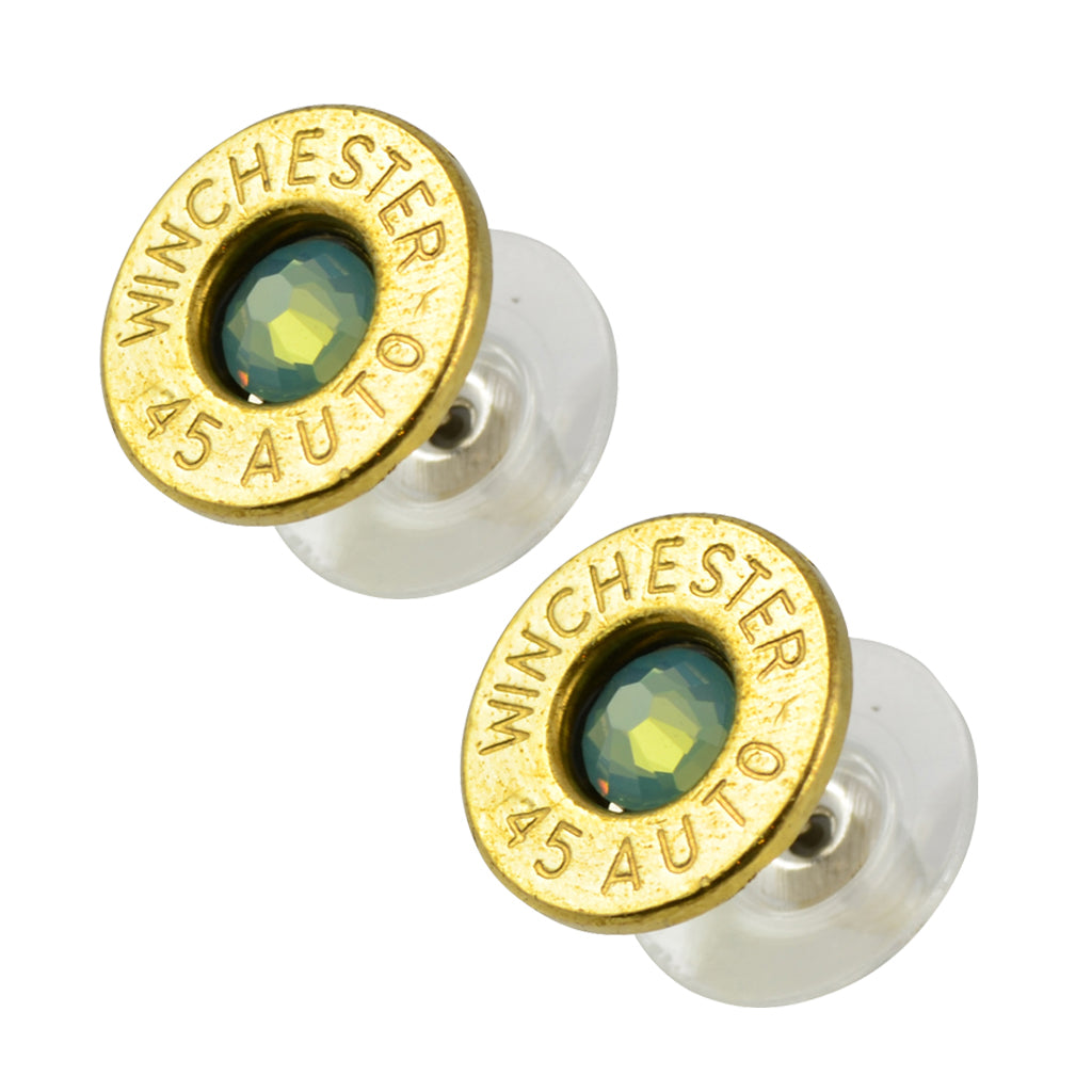 Little Black Gun 45 Auto Bullet Shell Stud Earrings, Thin Brass and Pacific Opaque Crystal
