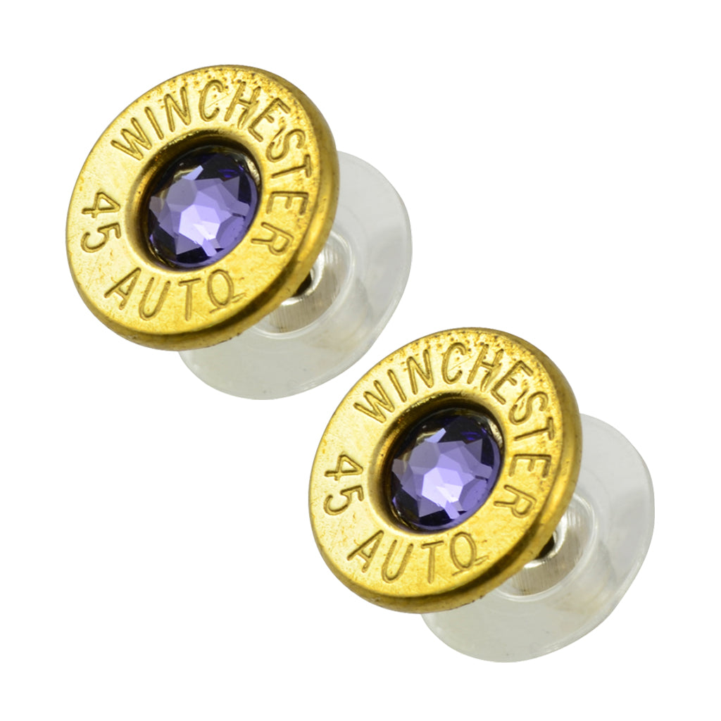 Little Black Gun 45 Auto Bullet Shell Stud Earrings, Thin Brass and Blue Purple Crystal