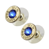 Little Black Gun 9mm Bullet Shell Stud Earrings, Thin Nickel and Blue Crystal
