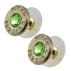 Little Black Gun 357 Sig Bullet Shell Stud Earrings, Thin Nickel and Green Crystal
