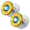 Little Black Gun 357 Sig Bullet Shell Stud Earrings, Thin Brass and Aqua Crystal