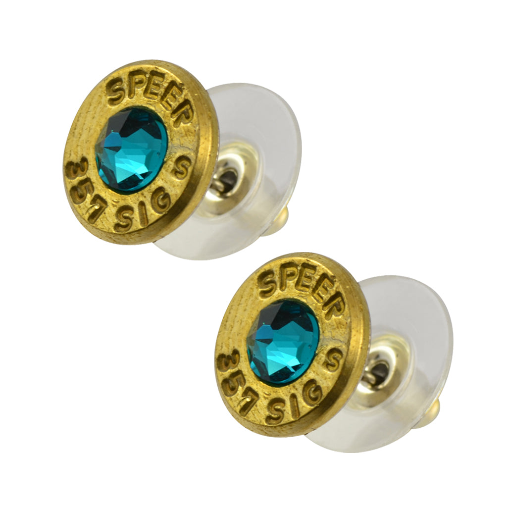 Little Black Gun 357 Sig Bullet Shell Stud Earrings, Thin Brass and Vivid Blue Crystal