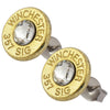 Little Black Gun 357 Sig Bullet Shell Stud Earrings, Thin Brass and Clear Swarovski Crystal