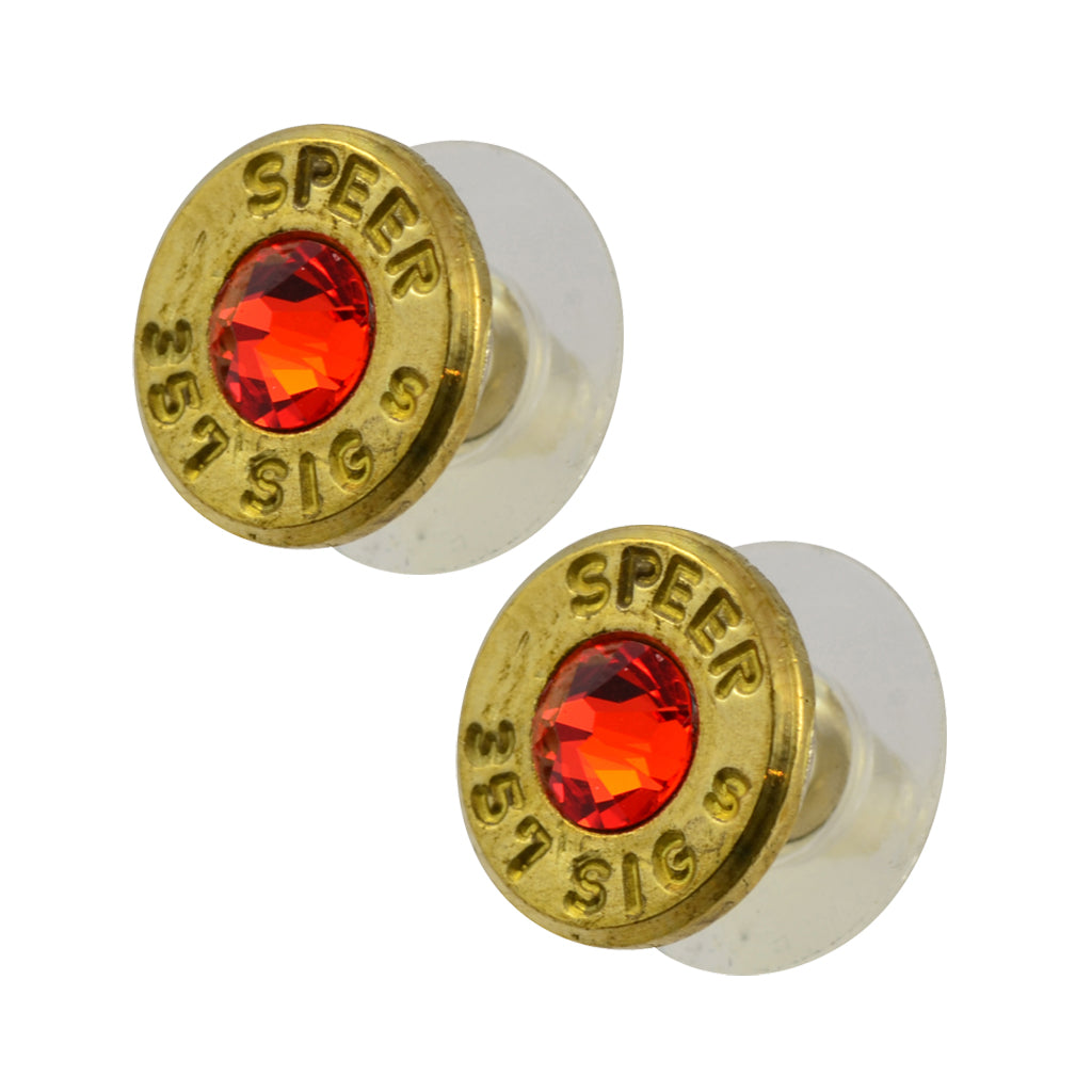 Little Black Gun 357 Sig Bullet Shell Stud Earrings, Thin Brass and Vivid Red Crystal