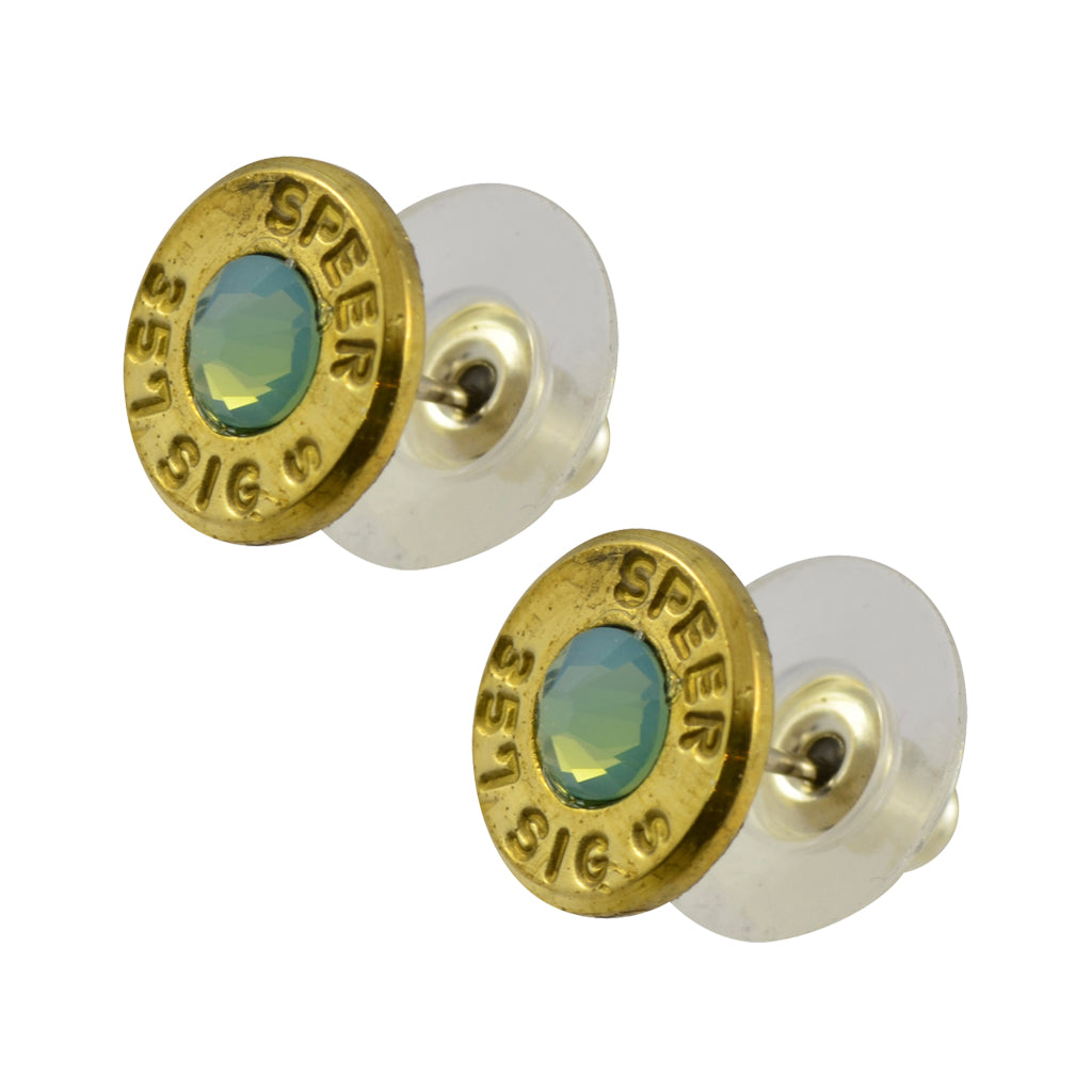 Little Black Gun 357 Sig Bullet Shell Stud Earrings, Thin Brass and Pacific Opaque Crystal