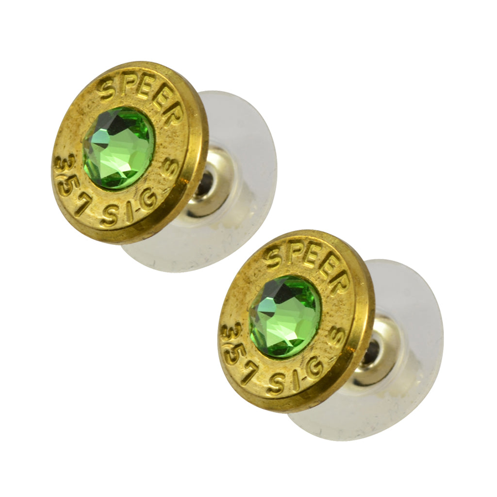 Little Black Gun 357 Sig Bullet Shell Stud Earrings, Thin Brass and Green Crystal