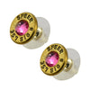 Little Black Gun 357 Sig Bullet Shell Stud Earrings, Thin Brass and Pink Crystal