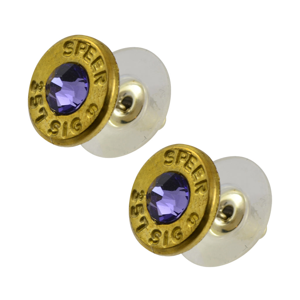 Little Black Gun 357 Sig Bullet Shell Stud Earrings, Thin Brass and Blue Purple Crystal