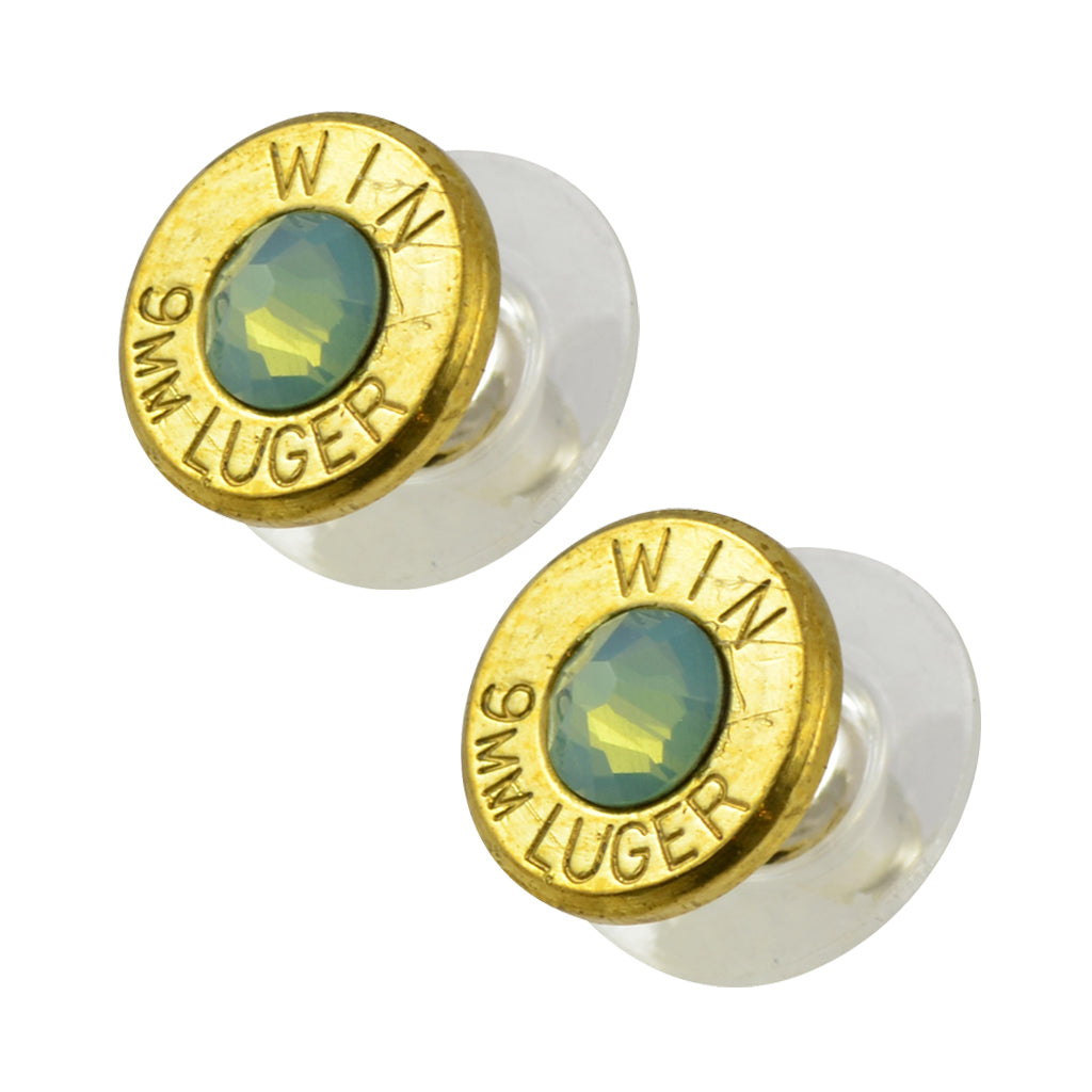 Little Black Gun 9mm Bullet Shell Stud Earrings, Thin Brass and Pacific Opaque Crystal