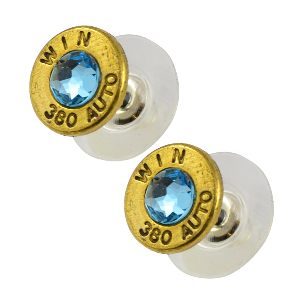 Little Black Gun 380 Auto Bullet Shell Stud Earrings, Thin Brass and Aqua Crystal