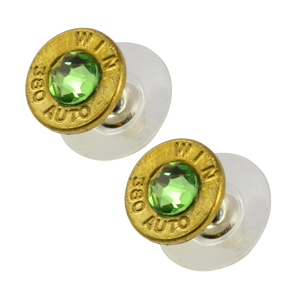 Little Black Gun 380 Auto Bullet Shell Stud Earrings, Thin Brass and Green Crystal