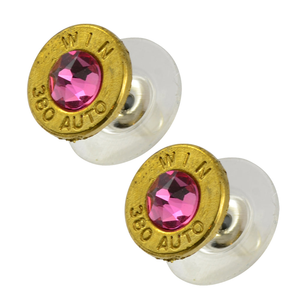 Little Black Gun 380 Auto Bullet Shell Stud Earrings, Thin Brass and Pink Crystal