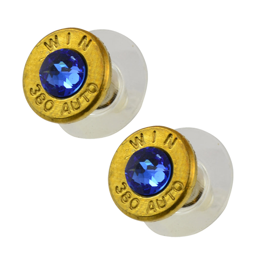 Little Black Gun 380 Auto Bullet Shell Stud Earrings, Thin Brass and Blue Crystal