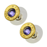 Little Black Gun 380 Auto Bullet Shell Stud Earrings, Thin Brass and Blue Purple Crystal