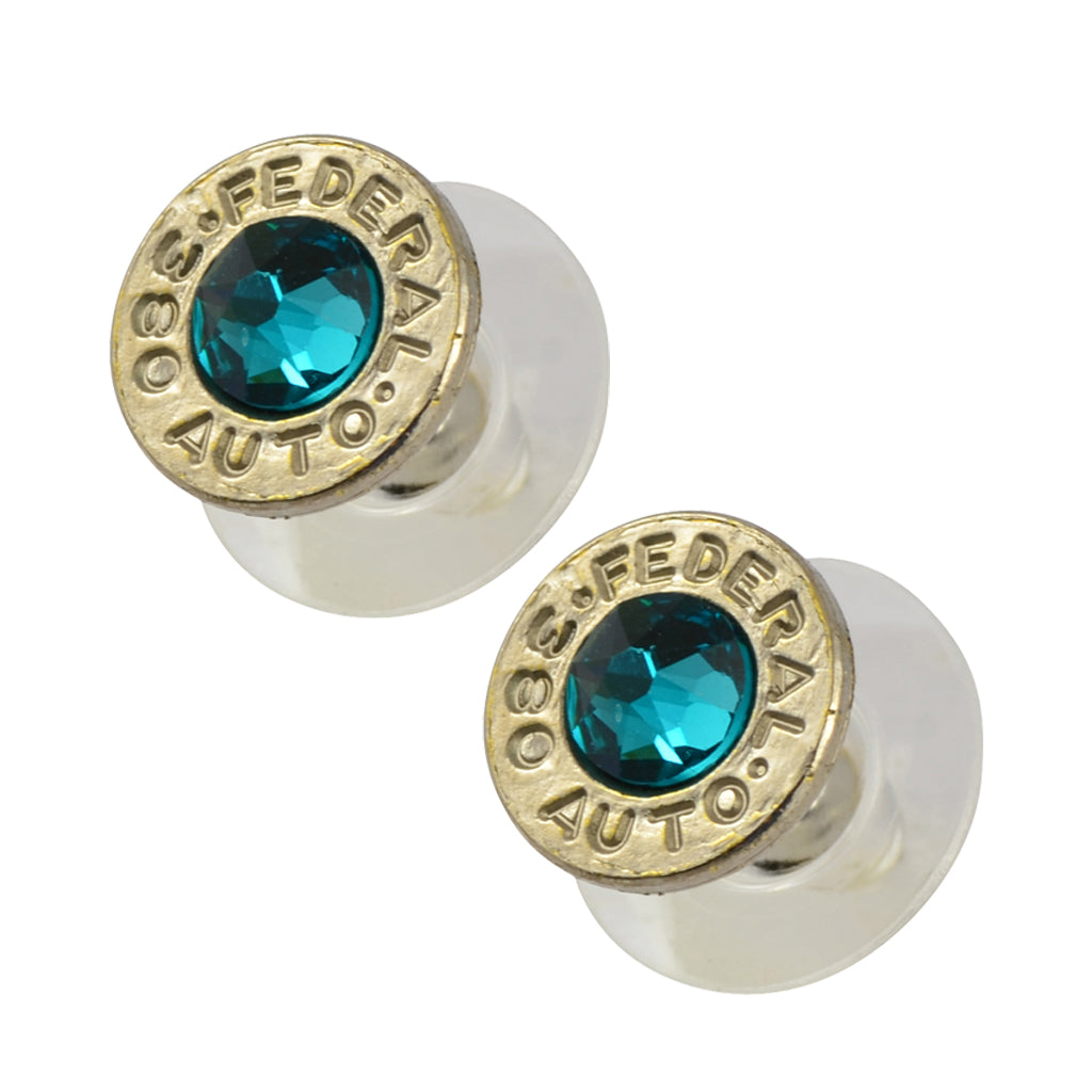 Little Black Gun 380 Auto Bullet Shell Stud Earrings, Thin Nickel and Vivid Blue Crystal
