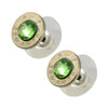 Little Black Gun 380 Auto Bullet Shell Stud Earrings, Thin Nickel and Green Crystal