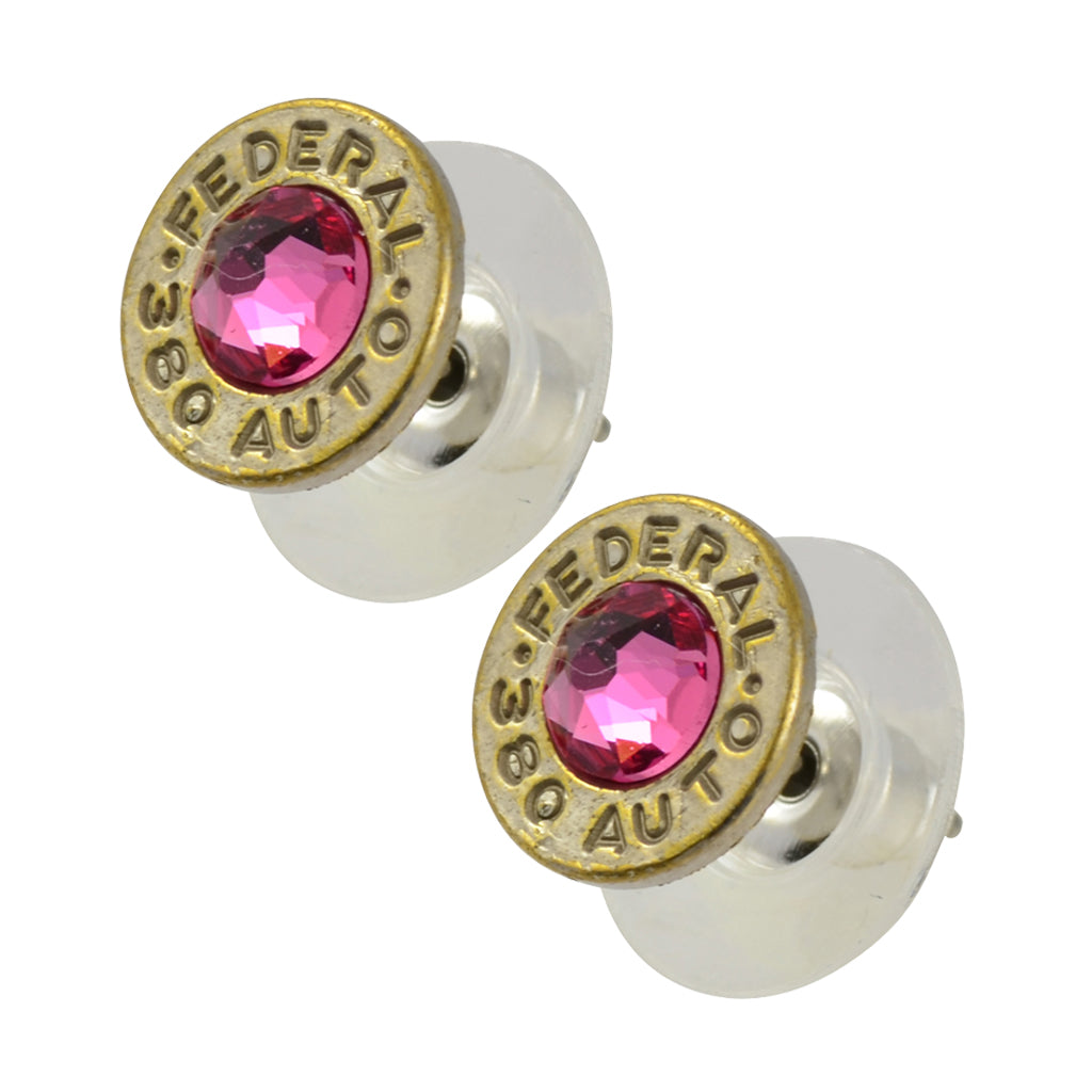 Little Black Gun 380 Auto Bullet Shell Stud Earrings, Thin Nickel and Pink Crystal