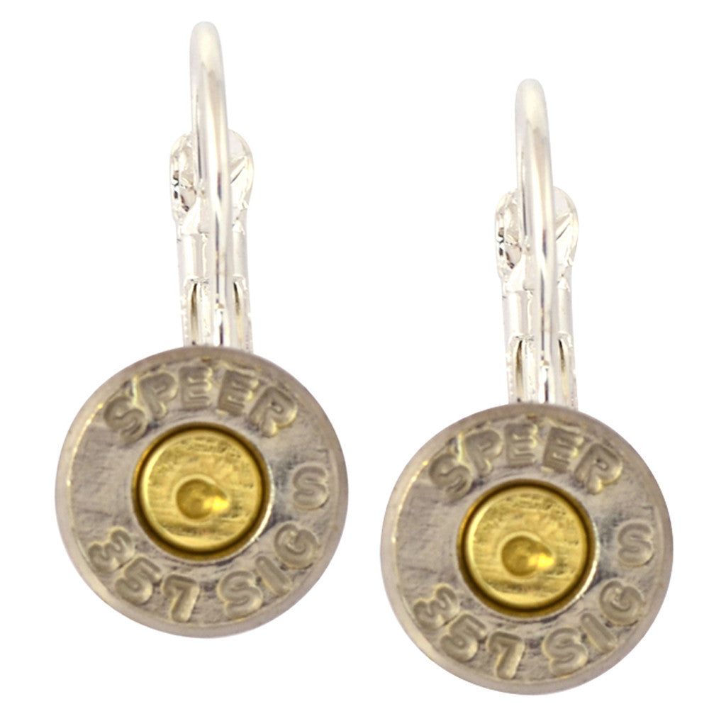 Little Black Gun 357 Sig Bullet Shell Leverback Earrings, Thin Nickel and Brass 2 Tone