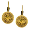 Little Black Gun 44 Mag Bullet Shell Leverback Earrings, Thin