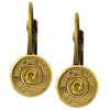 Little Black Gun 357 Sig Bullet Shell Leverback Earrings, Thin Brass