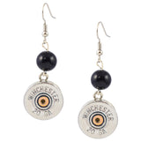 Little Black Gun Round Tall Shotshell Dangle Earrings, 20 Gauge Bullet Shells, Silvertone