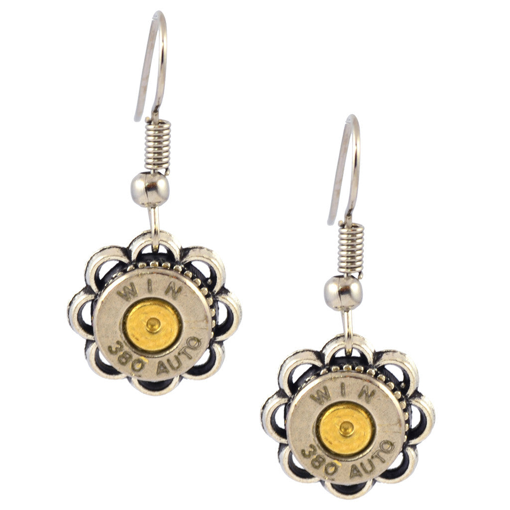 Little Black Gun 380 Loop Bullet Dangle Earrings, Bullet Shells, Nickel and Brass