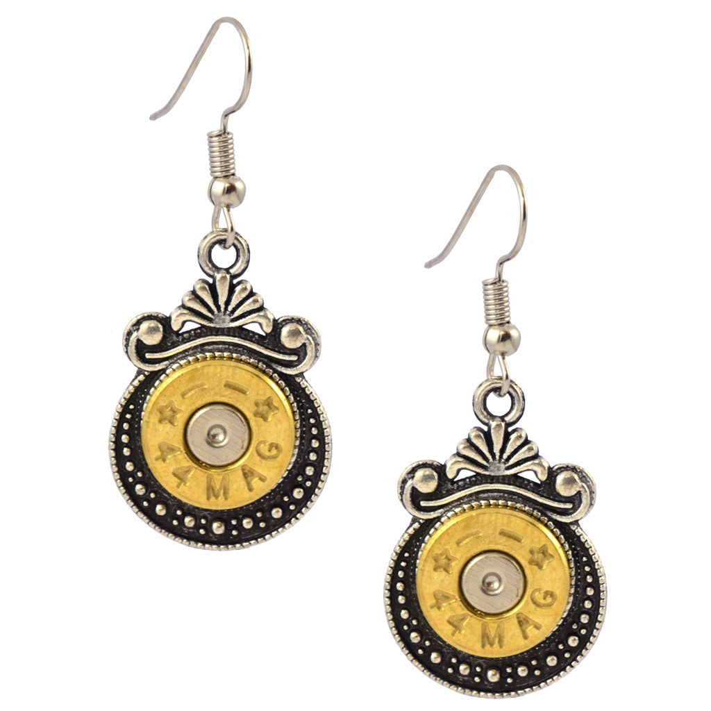 Little Black Gun Crescent Bullet Dangle Earrings, Bullet Shells, Nickel and Brass