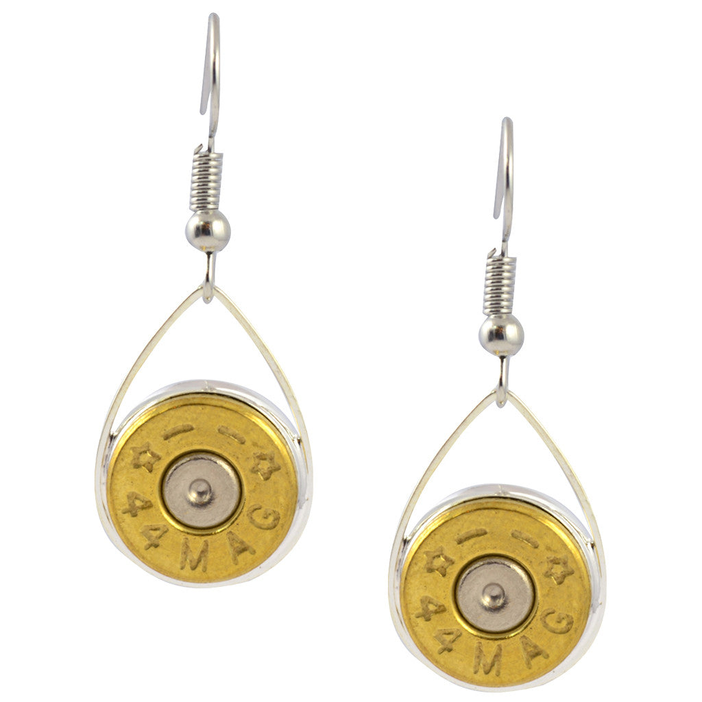 Little Black Gun Teardrop Bullet Dangle Earrings, Bullet Shells, Nickel and Brass