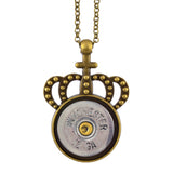 Little Black Gun Crown 20 Gauge Shotgun Shell Pendant Necklace, Brass and Silvertone Finish