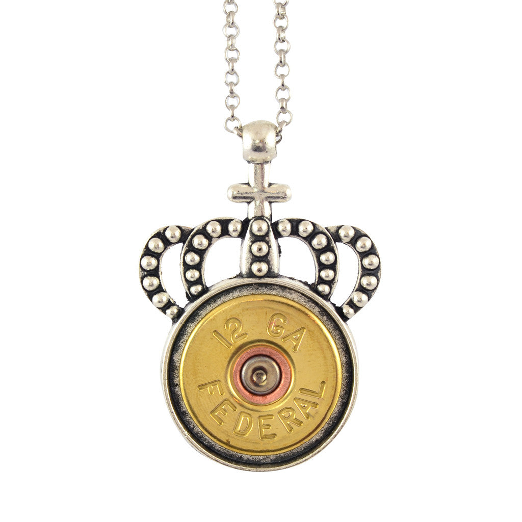 Little Black Gun Crown 20 Gauge Shotgun Shell Pendant Necklace, Silvertone and Brass Finish