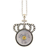 Little Black Gun Crown 20 Gauge Shotgun Shell Pendant Necklace, Silvertone Finish