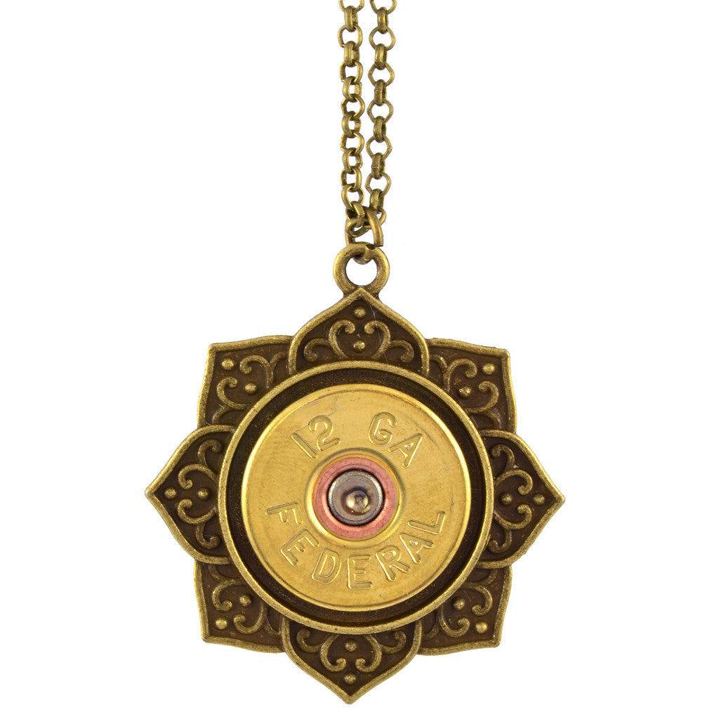 Little Black Gun Indian Lotus 20 Gauge Shotgun Shell Pendant Necklace, Brass Finish