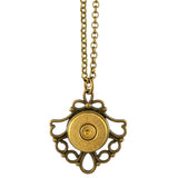 Little Black Gun Ornate Fan Bullet Shell Casing Pendant Necklace, Brass Finish