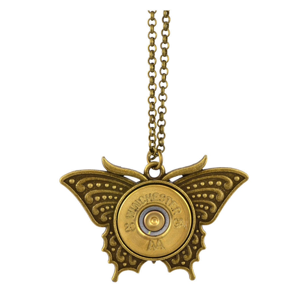 Little Black Gun Butterfly 20 Gauge Shotgun Shell Pendant Necklace, Brass Finish
