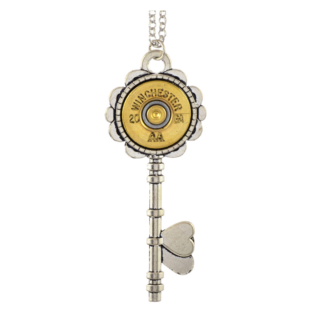 Little Black Gun Heart Key 20 Gauge Shotgun Shell Pendant Necklace, Silvertone and Brass Finish