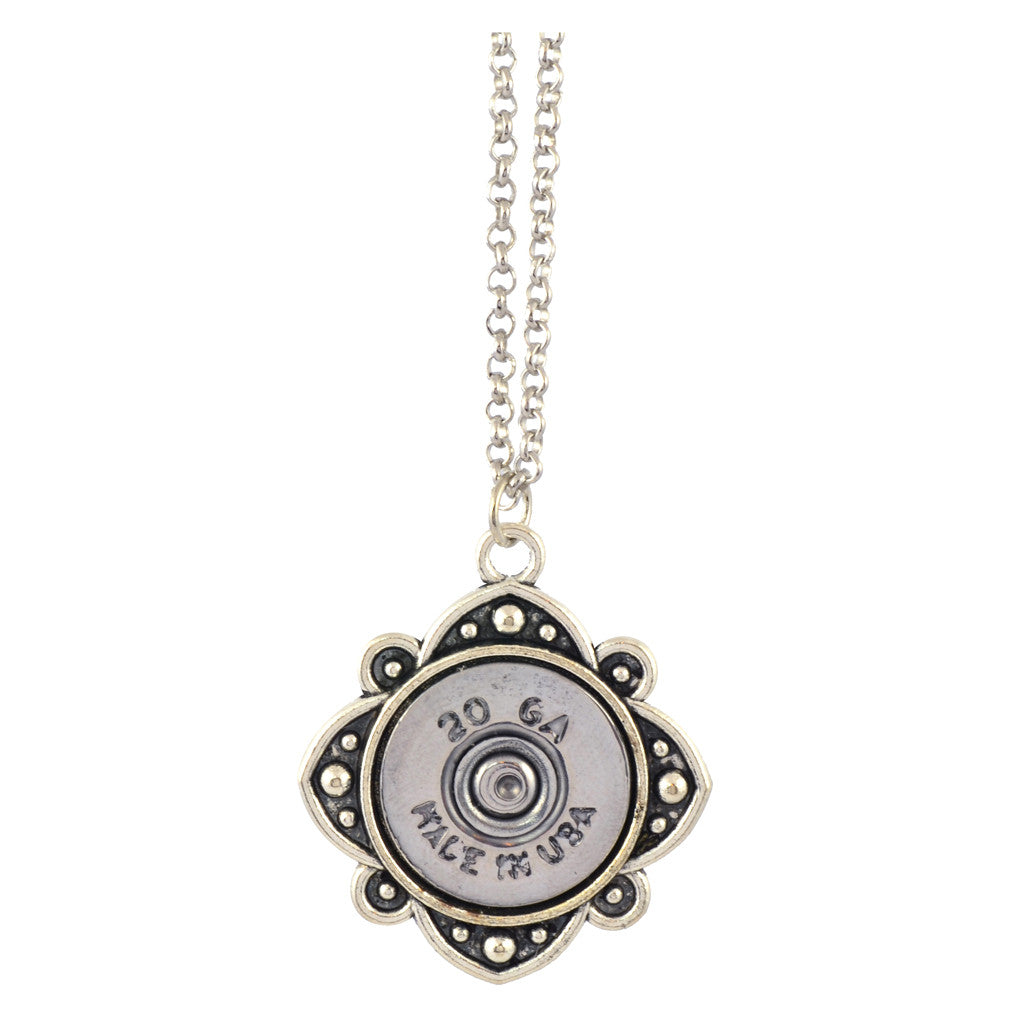 Little Black Gun Spade 20 Gauge Shotgun Shell Pendant Necklace, Silvertone Finish