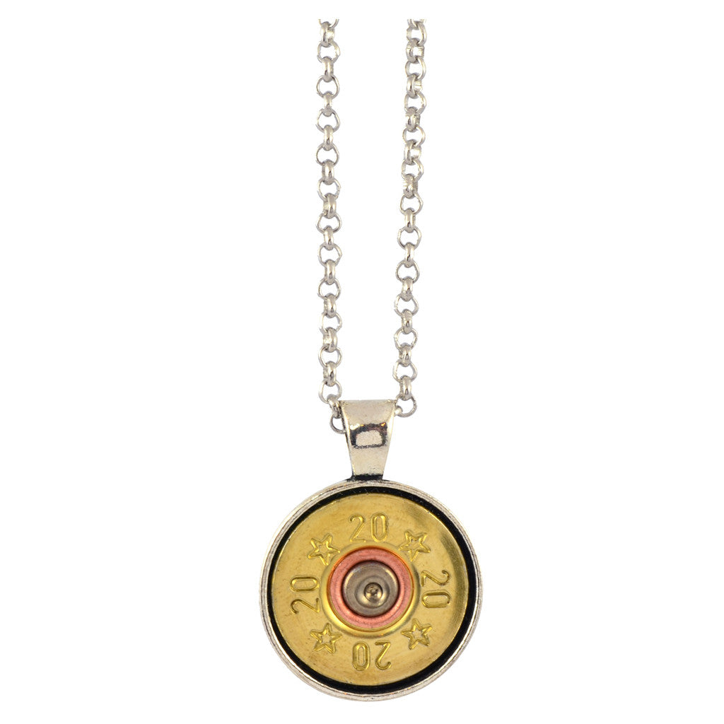 Little Black Gun Round Circle 20 Gauge Shotgun Shell Pendant Necklace, Silvertone and Brass Finish