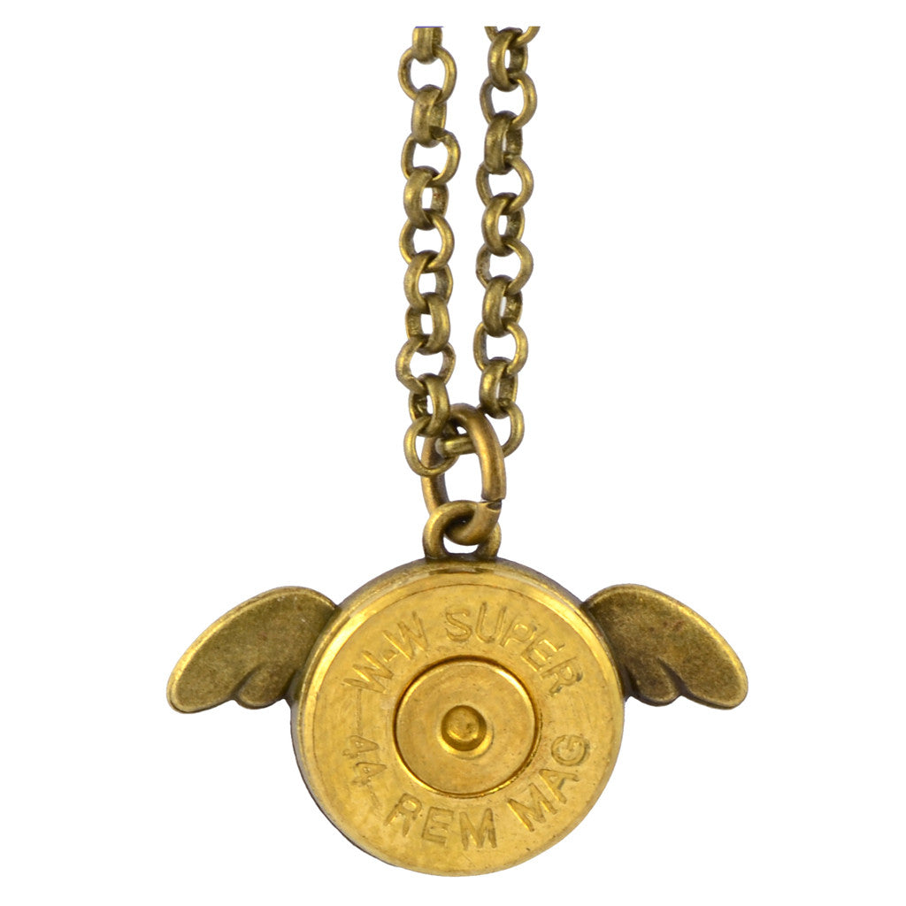 Little Black Gun Wings Bullet Casing Shell Pendant Necklace, Brass Finish