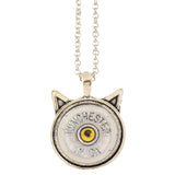 Little Black Gun Cat 12 Gauge Shotgun Shell Pendant Necklace, Silvertone Finish