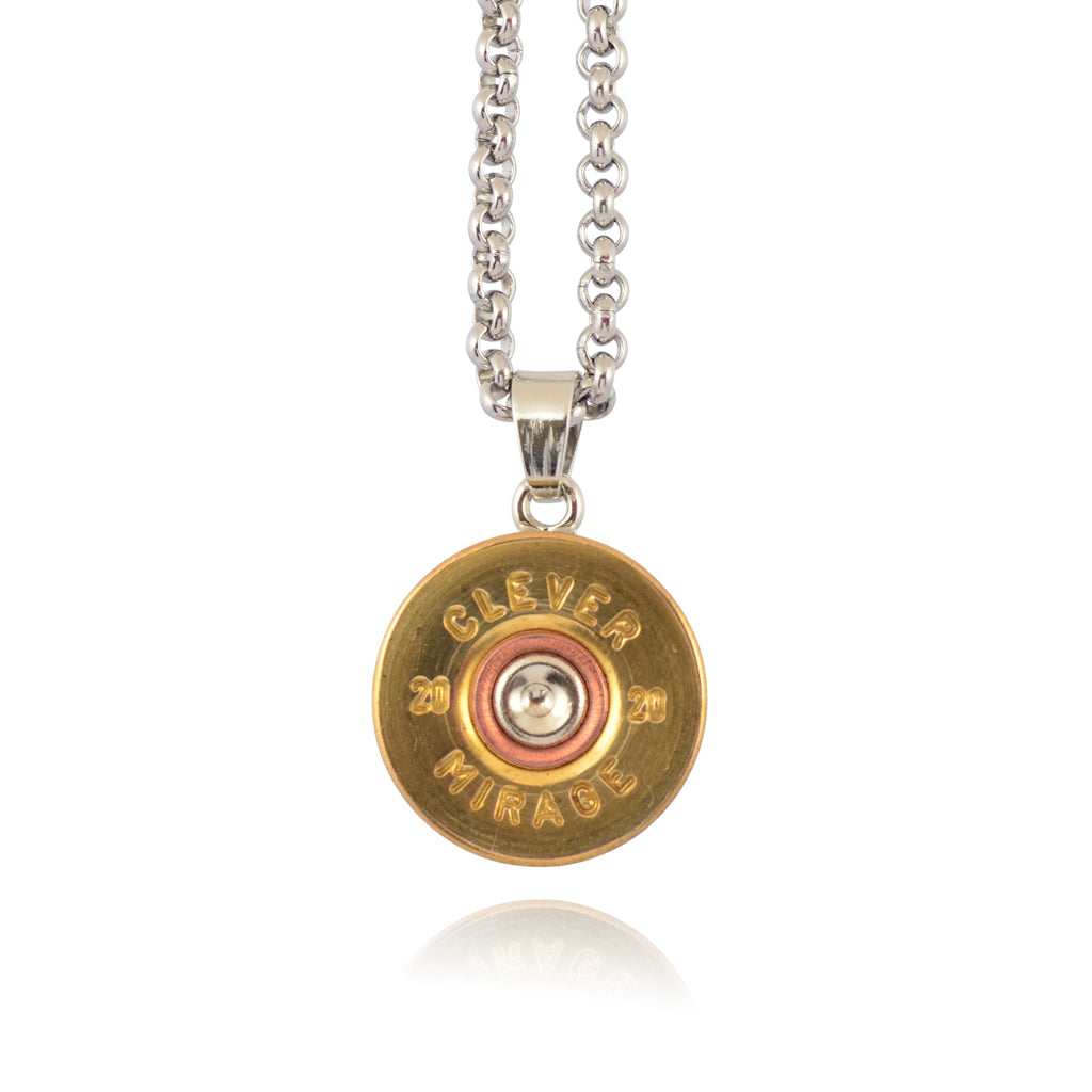 Little Black Gun 20 Gauge Shotgun Shell Pendant Necklace, Silvertone and  Brass Finish
