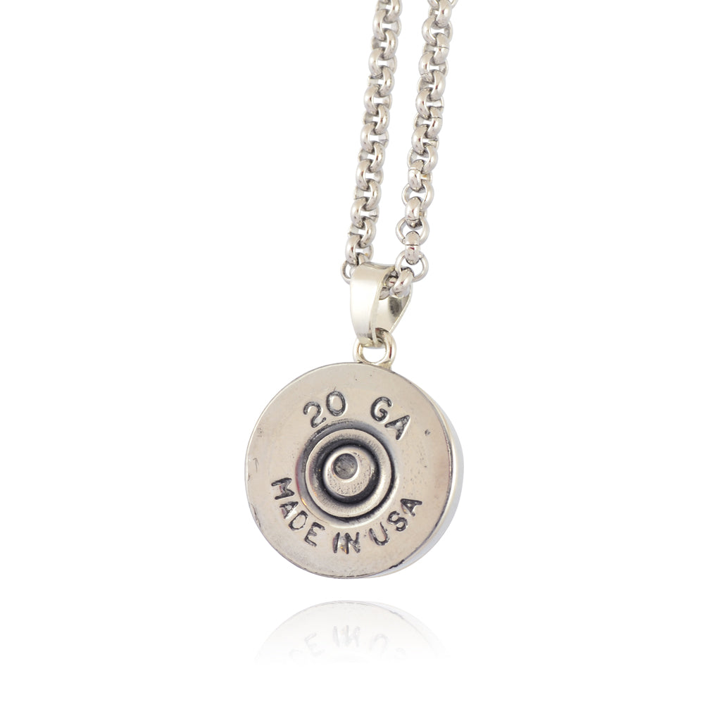 Little Black Gun 20 Gauge Shotgun Shell Pendant Necklace, Silvertone Finish