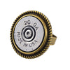 Bullet Ring, 20 Gauge Spiral Shotgun Shell Bullet Adjustable Ring, Brass and Silvertone