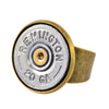 Bullet Ring, 20 Gauge Shotgun Shell Bullet Adjustable Ring, Brass and Silvertone