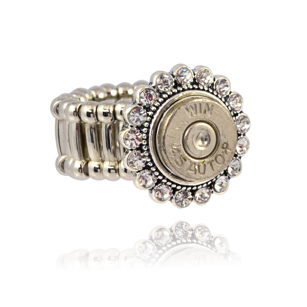 Bullet Crystal Ring, 45 Caliber Bullet Adjustable Ring, Silvertone and Brass